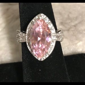 Sterling silver pink topaz and white sapphire ring